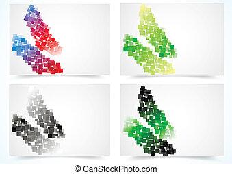színes, állhatatos, elvont, kártya