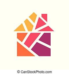 színes, épület, ábra, vektor, icon-, geometriai