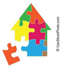 színes, épület, rejtvény, lombfűrész, vektor, háttér