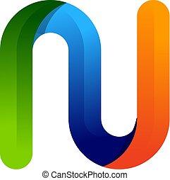 színes, észak, tervezés, levél, jel, ikon