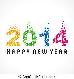 színes, év, új, 2014, buborék, boldog