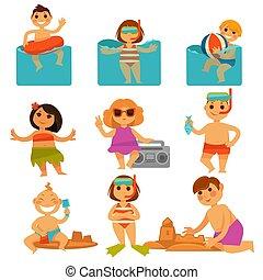 színes, bágyasztó, poszter, homok, gyerekek, pocsolya