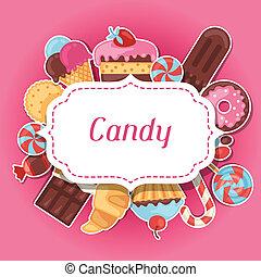 színes, böllér, cukorka, édesség, háttér, cakes.