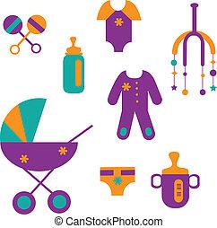 színes, csecsemő, apró, állhatatos, öltözet