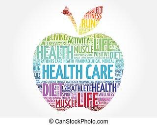 színes, egészség, alma, törődik