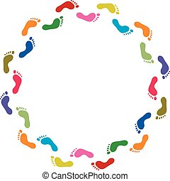 színes, elvont, ábra, jelkép, vektor, lábnyom