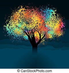 színes, elvont, eps, space., fa., 8, másol
