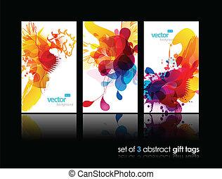 színes, elvont, loccsanás, állhatatos, tehetség, kártya, visszaverődés.