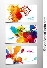 színes, elvont, loccsanás, kártya., állhatatos, tehetség