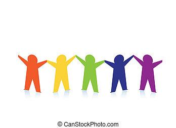 színes, emberek, elvont, dolgozat, elszigetelt, fehér