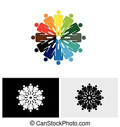 színes, emberek, elvont, együtt, vektor, hatalom kezezés, jel, ikon