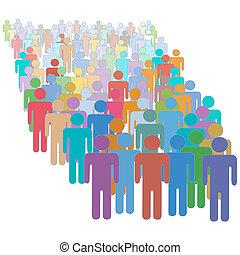 színes, emberek, tolong, együtt, sok, különböző, nagy