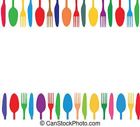 színes, evőeszköz, háttér