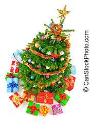 színes, fa, kilátás, karácsony, tető