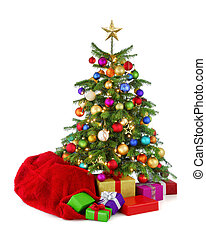 színes, fa, santa's, tehetség, táska, karácsony