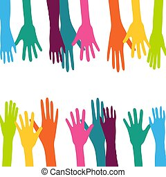 színes, feláll, háttér, kéz