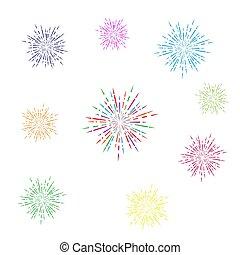 színes, fireworks., elszigetelt, állhatatos, háttér, fehér, tervezés, egyszerű