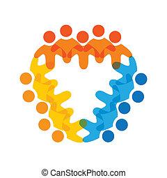 színes, fogalom, közösség, játék, barátság, munkavállaló, egyesített, vektor, gyerekek, &, dolgozók, kapcsolódások, változatosság, brigád, őt előad, osztozás, icons(signs)., munkás, ábra, graphic-, szeret, fogalom, s a többi
