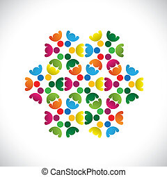 színes, fogalom, közösség, játék, barátság, munkavállaló, emberek, látszik, vektor, &, kapcsolódások, változatosság, brigád, icons(signs)., osztozás, gyerekek, munkás, elvont, ábra, graphic-, szeret, fogalom, s a többi