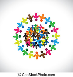 színes, fogalom, közösség, játék, barátság, munkavállaló, emberek, társadalmi, vektor, &, kapcsolódások, változatosság, őt előad, osztozás, icons(signs)., hálózat, gyerekek, munkás, ábra, graphic-, szeret, fogalom, s a többi