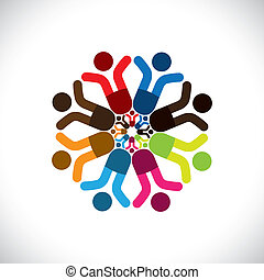 színes, fogalom, közösség, játék, barátság, munkavállaló, látszik, vektor, gyerekek, &, kapcsolódások, misét celebráló, változatosság, icons(signs)., osztozás, gyerekek, munkás, elvont, ábra, graphic-, szeret, fogalom, s a többi