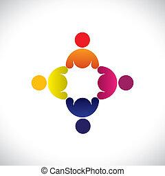 színes, fogalom, közösség, játék, barátság, munkavállaló, munkás, vektor, &, gyűlés, kapcsolódások, változatosság, őt előad, osztozás, icons(signs)., gyerekek, munkás, elvont, ábra, graphic-, szeret, fogalom, s a többi