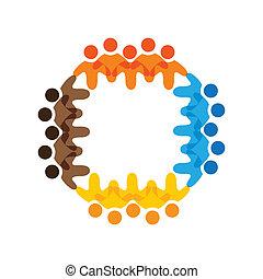 színes, fogalom, közösség, játék, barátság, munkavállaló, vektor, gyerekek, &, izbogis, kapcsolódások, változatosság, brigád, őt előad, osztozás, icons(signs)., munkás, gyerekek, ábra, graphic-, szeret, fogalom, s a többi