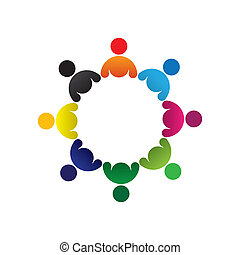 színes, fogalom, közösség, játék, barátság, munkavállaló, vektor, gyerekek, &, kapcsolódások, változatosság, őt előad, osztozás, icons(signs)., gyerekek, munkás, elvont, ábra, graphic-, csoport, szeret, fogalom, s a többi