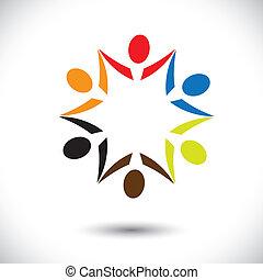 színes, fogalom, közösség, játék, boldog, barátság, munkavállaló, emberek, fél, látszik, vektor, &, kapcsolódások, változatosság, osztozás, icons(symbols)., gyerekek, munkás, ábra, graphic-, szeret, fogalom, s a többi
