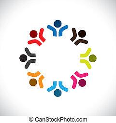 színes, fogalom, közösség, játék, boldog, barátság, munkavállaló, emberek, vektor, &, kapcsolódások, változatosság, őt előad, osztozás, icons(signs)., gyerekek, munkás, elvont, ábra, graphic-, szeret, fogalom, s a többi