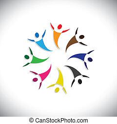 színes, fogalom, közösség, játék, boldog, barátság, munkavállaló, emberek, vidám, látszik, vektor, &, kapcsolódások, változatosság, osztozás, icons(symbols)., gyerekek, munkás, ábra, graphic-, szeret, fogalom, s a többi