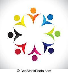színes, fogalom, közösség, játék, boldog, barátság, munkavállaló, vektor, gyerekek, &, kapcsolódások, változatosság, őt előad, osztozás, icons(signs)., gyerekek, munkás, elvont, ábra, graphic-, szeret, fogalom, s a többi