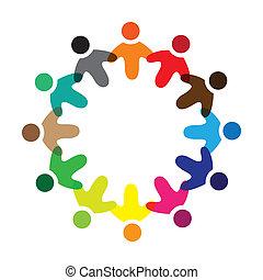 színes, fogalom, közösség, játék, ring., barátság, icons(signs), munkavállaló, vektor, gyerekek, &, izbogis, kapcsolódások, változatosság, őt előad, osztozás, munkás, ábra, graphic-, szeret, fogalom, s a többi