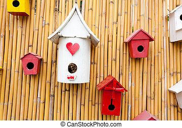 színes, gyűjtés, birdhouses