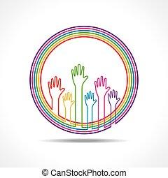 színes, háttér, kéz