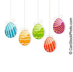 színes, húsvét, háttér, ikra, fehér