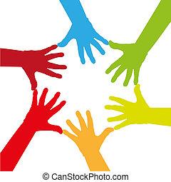 színes, hat, -, ábra, megható, együtt, kézbesít