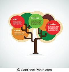 színes, hely, fa, szöveg, háttér, infographics