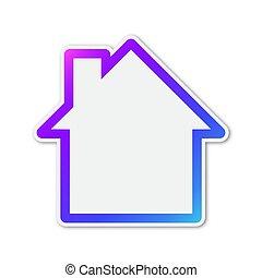 színes, icon., épület, vektor