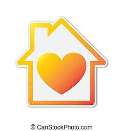 színes, ikon, alakzat., épület, vektor, szív