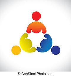 színes, játék, fogalom, közösség, játék, barátság, munkavállaló, vektor, gyerekek, &, kapcsolódások, változatosság, őt előad, osztozás, icons(signs)., háromszemélyes, gyerekek, munkás, ábra, graphic-, szeret, fogalom, s a többi