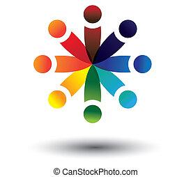 színes, játék, vektor, karika, fogalom, gyerekek, izbogis