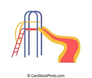 színes, játszótér, móka, csúszás, gyerekek, vektor, játékok, ábra, létra