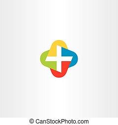 színes, jelkép, kereszt, vektor, jel, orvosi, ikon