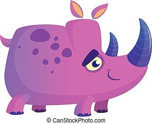 színes, kép, orrszarvú, vektor, rhino., ibolya, karikatúra, kabala