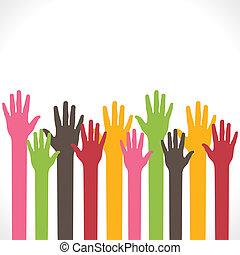 színes, kéz