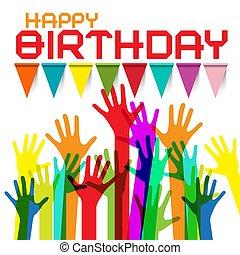színes, köszönés, születésnap, zászlók, kézbesít, kártya, boldog