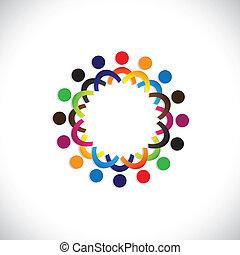 színes, közösség, fogalom, játék, barátság, munkavállaló, emberek, társadalmi, látszik, vektor, &, kapcsolódások, változatosság, osztozás, icons(symbols)., gyerekek, munkás, ábra, graphic-, szeret, fogalom, s a többi