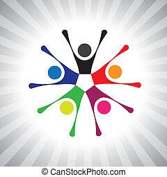 színes, közösség, haverkodik, is, játék, móka, vibráló, egyszerű, friendship-, birtoklás, vektor, gyerekek, misét celebráló, graphic., konzerv, összejövetel, izgatott, gyerekek, ábra, emberek, ábrázol, ez