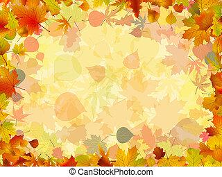 színes, keret, elrendezett, leaves., eps, ősz, 8